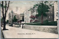 BROOKLYN NY CLINTON AVENUE 1908 ANTIQUE POSTCARD