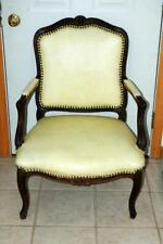Antique Cream Leather & Wood/Walnut? Louis Style Arm Chair