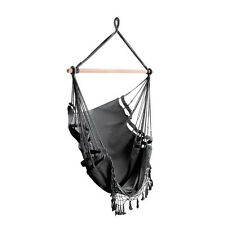 Hanging Hammock Swing Chair with Tassels - Grey