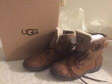 Women's UGG AUSTRALIA Cecile Boots CHESTNUT Waterproof Leather Duck Boots NEW 6