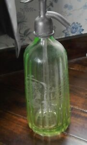 ANTIQUE VASELINE GLASS GLACIERES CANNES SODA SYPHON SIPHON