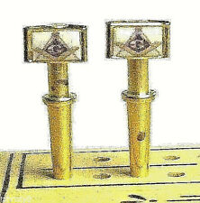 2- Masons, Masonic, Brass Cribbage Pegs  USA Quality With Black Velvet Pouch   X