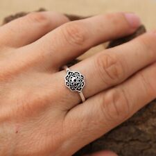 925 Sterling Silver Small Dainty Snowflake design Ring Plain Pure