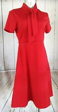 Modcloth Myrtlewood of California Tie Neck Retro Dress Size M Red Pin Up Mod EUC