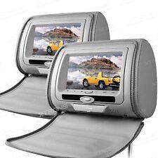 """2PCS Grau Auto Kopfstütze mit DVD Player 7"""" LCD Digital Monitor USB SD Anschluss"""