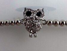Owl bracelet stretch silver-tone small beads 7 inch stretch adjustable
