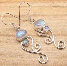 925 Silver Overlay 2 Inch LARGE Earrings ! Genuine RAINBOW MOONSTONE 2 Gems
