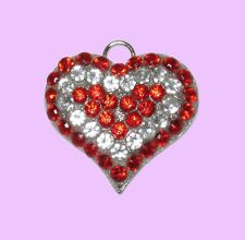 Large Ruby Red & Clear Crystal Heart Pet Dog Collar ID Tag, Jewellery, Gift