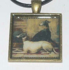 Altered Art Tapestry Greyhound Dogs Bronze Pendant, Genuine Leather Necklace