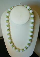 FUN Vintage HONG KONG White Lime green Chunky Bead Goldtone Necklace & Extender