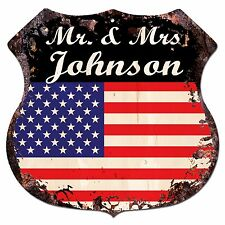 BPLU0002 America Flag MR. & MRS JOHNSON Family Name Sign Home Decor Gift