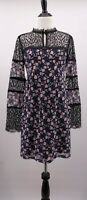 NWT Nanette Lepore 2 Flora Frock Black Flower Silk Lace Yoke Boho Peasant Dress