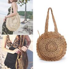 Summer Women Round Beach Straw Shoulder Bag Handbag Tote Crochet Bag Vintage New