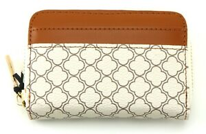 PURSE beige patterned small zip COIN purse with CARDS slots wallet with GIFT BOX