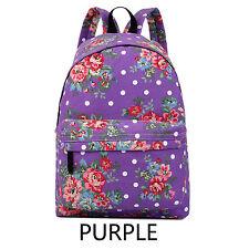 Flower Ladies School Travel Backpack Shoulder Bag Rucksack Canvas A4 Zip