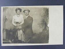 Man & Woman Studio Pose on Donkey Antique Real Photo Postcard RPPC c1910