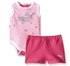 NWT PUMA Girls' Star Bodysuit and Short Set Size:3-6M Pink Glow