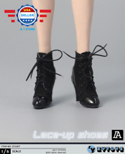 "1/6 Scale Lace Up Black Leather hollow Boots for 12"" female figure PHICEN"