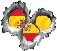 Agujero de bala Rasgado Metal 3 disparos revelar España Bandera España Pegatina de vinilo coche