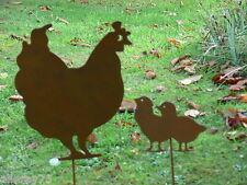 Cut out ornament garden mother hen chook chicken chicks. rust finish. very cute.