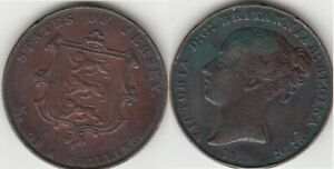 Îles Anglo-Normandes très rares Jersey Victoria 1/13 Shilling 1858