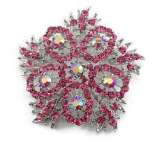 Decorative Snowflake Wedding Brooch Pin Pink Fancy Austrian Rhinestone Crystal