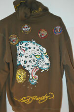 ED HARDY SNOW LEOPARD ZIP HOODIE MENS 3XL PATCHES RHINESTONES EMBROIDERY