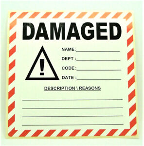 DAMAGED Labels  Stickers, LARGE 100x100mm, Packaging Warehouse, PPI-DAM-02