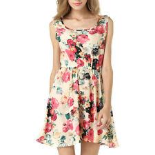 Plus Size Women Boho O-Neck Floral Print Retro Sleeveless Loose Long Maxi Dress