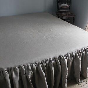 100% Linen RUFFLED BED SKIRT Twin Full Queen King Long Drop Length All sizes