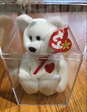 TY Beanie Babies Baby Bear Valentino Retired White Bear Red Heart New in Case