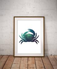 Under The Sea Crab Galaxy Art Print,Nautical Sea Decor, Marine Life, Space