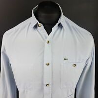 Lacoste LIVE Mens THICK Shirt SMALL Long Sleeve Blue SLIM FIT No Pattern Cotton