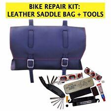 Set di riparazione bici Borsa in Pelle, Multi-Tool, forare riparazione KIT NERO rosso cuciture