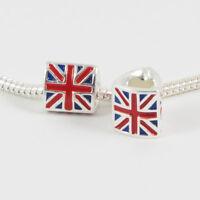 3 Beads - British Flag United Kingdom London Silver European Bead Charm E0119