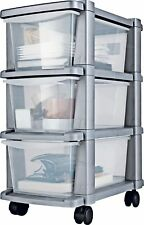 Home Plastic Wheeled 3 Drawer Silver Tower Shelving Cabinet Shelf Storage Unit