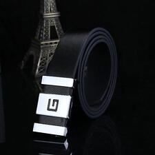 Casual  Men Women Automatic Buckle Leather Waist Strap Belts Buckle Belt Black