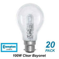 20 x 100W Clear Light Globes / Bulbs B22 Bayonet Halogen Warm White Dimmable A60