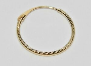 Men's 9ct Gold Diamond Cut Single Sleeper Hoop Earring - Gent's - Real 9ct Gold