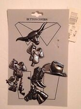6 Western/Cowboy Theme Button Covers Silver Tone Metal Boots Hat Saddle Bull