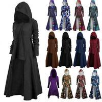 Women Gothic Witch Punk Hooded Dress Cloak Cape Robe Halloween Party Fancy Dress