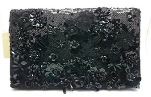 A Beautiful Accessorize Black 3D Flower/Floral Beaded & Sequin Clutch Handbag