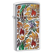 "Zippo ""Flowers-Zippo Logo"" High Polish Chrome Finish Slim Size Lighter, 29702"