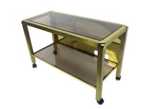 Vintage Design Coffee Table Two Tier Brass Smoked Glass Glam Romeo Rega Style