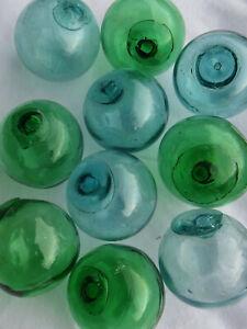 """Japanese GLASS Fishing FLOATS 2"""" LOT-10 Aqua/Blue & Emerald Greens"""