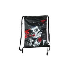 Black Guns Roses Lady Back Pack Carry Bag Travel Fantasy Draw String Shoulder
