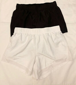 """(2) Lot Athletic Works Shorts Size L Large 12 14 16.5"""" Gym Run Lined White Black"""