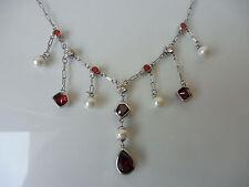 NOBILE CATENA__kollier__ARGENTO 925 __ con perle e pietre __