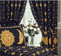 """SUN AND MOON BLACK GOLD 66"""" x 72"""" PENCIL PLEAT CURTAINS & MATCHING TIE BACKS"""