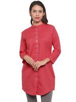 Women Ethnic Kurta Short Kurti Dress Indian Stylish Causal Rayon Kurti Pink
